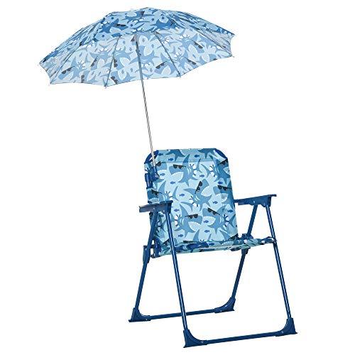 Outsunny Kinder-Campingstuhl mit Sonnenschirm Kinder-Strandstuhl Klappstuhl für 1-3 Jahre leichte Gewicht...