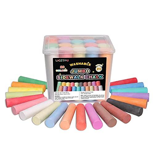 Straßenmalkreide, LYGZTing 20 Count 20 Colors Jumbo Kreide Set Ungiftig Waschbare Staubfreie Kreide für...