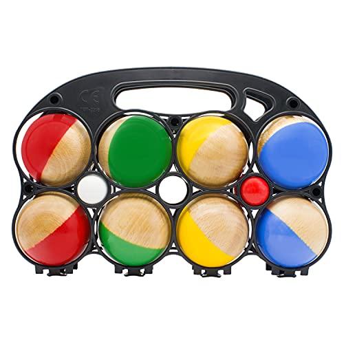 GICO Boccia Spiel aus Massivholz, 8 Kugeln, Durchmesser 7 cm -Made in EU- 3011