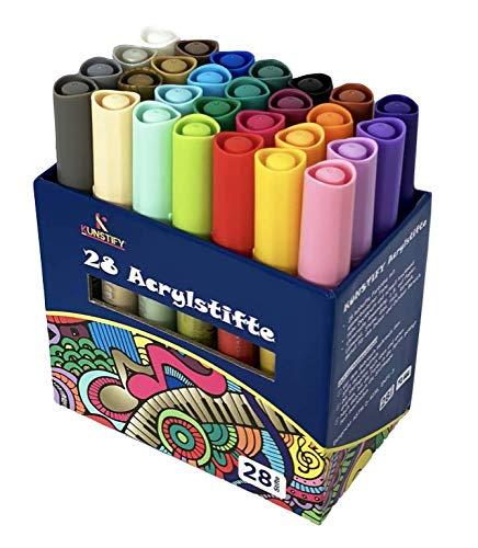 KUNSTIFY Acryl Marker Stifte Set, 28 Farben Wasserfest Paint Filzstift Folienstift Acrylic Malset Acrylstifte...