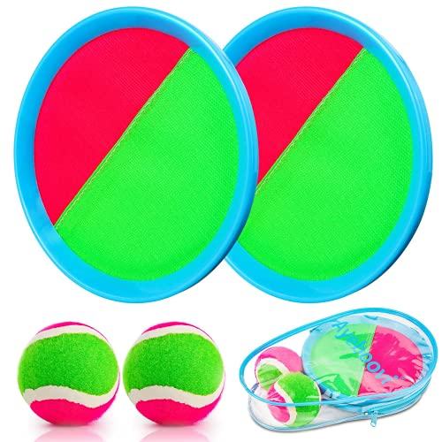 Weokeey Klettballspiel für Kinder, Klettball Set mit 2 Paddles und 2 Bällen Wasserdicht Klettball Spiel...