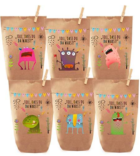 Paul´s Papierfabrik 6 Monster Geschenktüten, Tüten liebevoll Bedruckt, Papier, Kinder Geschenke, Gast,...