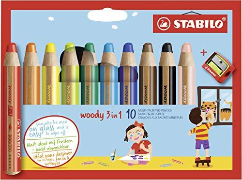 Stabilo Buntstift, Wasserfarbe und Wachsmalstift mit Spitzer