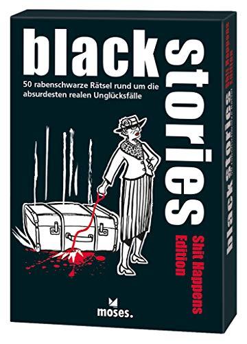 Moses 107118 black stories Shit Happens Edition, 50rabenschwarzeRätsel,DasKrimiKartenspiel