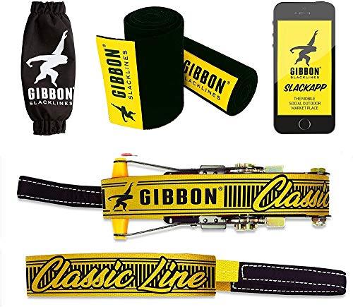 Gibbon Slacklines Classic Line mit Treewear, Gelb, 15 Meter (12,5m Band + 2,5m Ratschenband), inklusive...